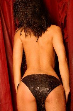 Shower Scene - Black Bikini - Back View