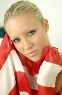 Red White and Blue American Flag Rapped Around an All American Girl