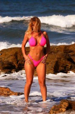 Neon Pink Skimpy String Bikini Thong - Blonde Bombshell Devon Lee