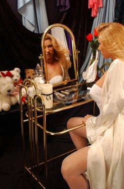 Playboy Model posing in sheer robe