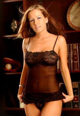 Playboy Model Jessica Barton - Black Lace Sheer Slip - Matching Black Lace Panty Thong