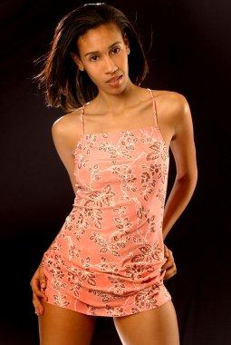 Brunette woman in Flowered Dress