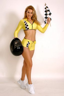 Checkered Flag Finish Line Racing Girl - Plenty of Room for Copy-space - Professional Model Ebony P