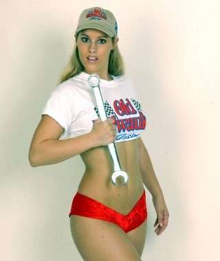 Mechanic Girl With a Wrench - White Background - Plenty of Copy Space - Perfect for Post or Calender