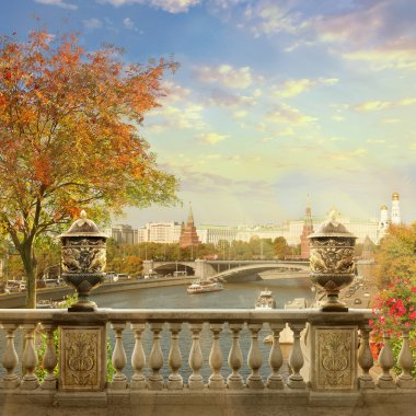 Kremlin view. Panorama of Moscow.