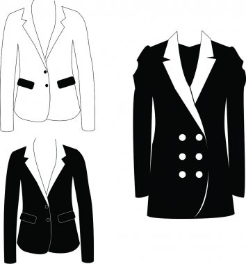 Classic Black and White Women Jackets and Coats on the White Background stock vector