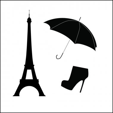 Eiffel Tower with Umbrella and Shoe