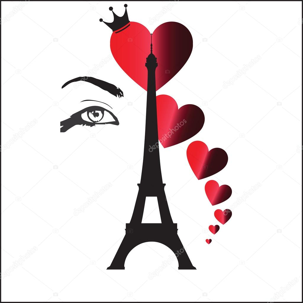 Black Eiffel Tower with Red Hearts