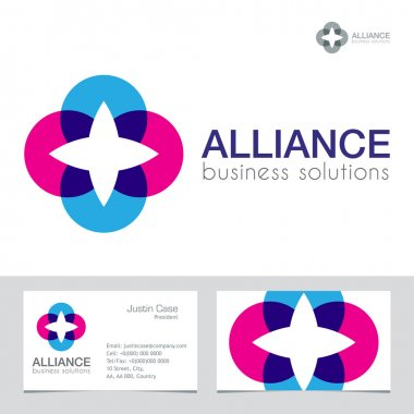 Unity, communication, links abstract business sign and business card template.