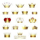 Fotografie Set of  17 Golden Crowns.