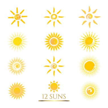 Set of 12 flat Sun icons.