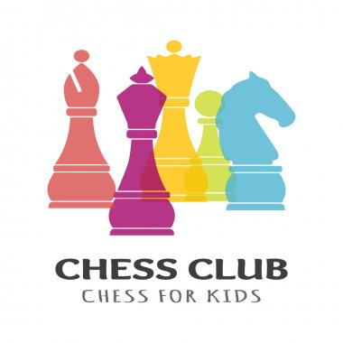 Chess pieces business sign & corporate identity template for Chess club or Chess school.