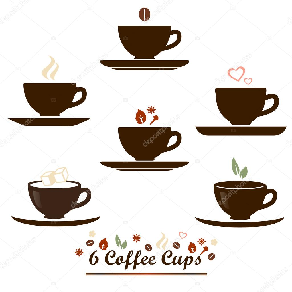 Coffee cup vector flat icon set for coffee or tea product package ...