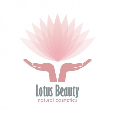 Hands holding a Lotus flower. Business logo for Beauty and Health industry.