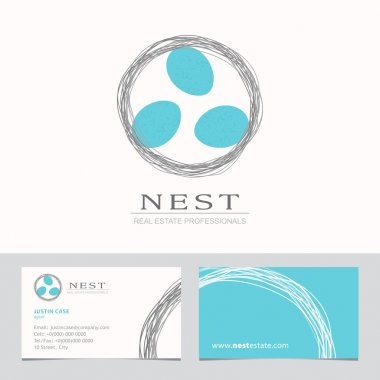 Nest with Bird Eggs Business sign & Business card