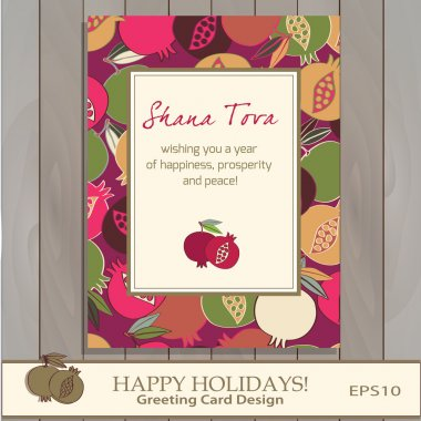 Pomegranate Greeting card design vector template.