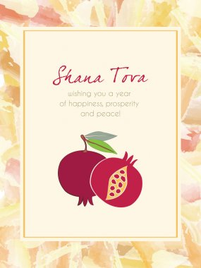 Pomegranate and Festive Watercolor Frame Greeting card design vector template.