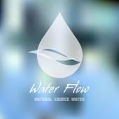 Kapka vody a vodní tok vektoru ikona. Obchodní značka pro přírodní zdroj nebo minerální voda