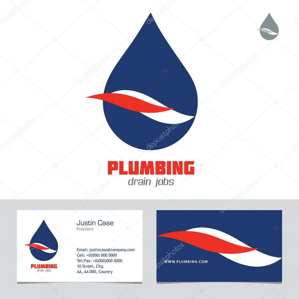 Plumbing Business Sign & Business card vector template.