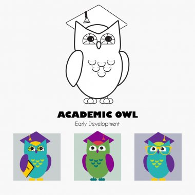 Owl in Graduate Hat educational vector icon template in linear and flat style.