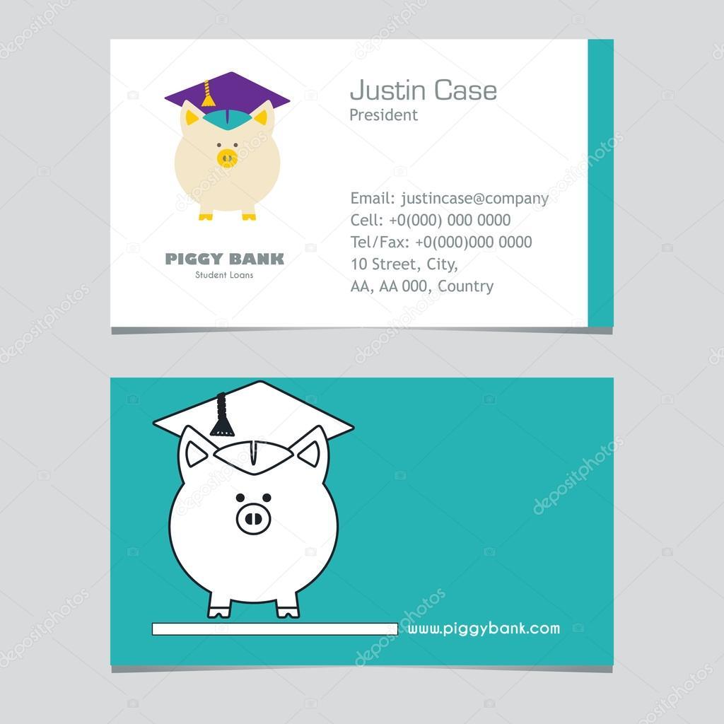 Piggy Bank In Graduate Hut Vektor Zeichen Und Visitenkarte