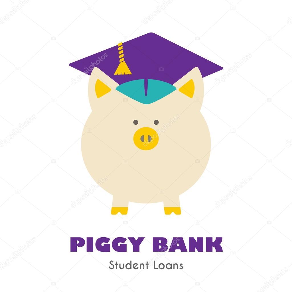 Banca Piggy In Segno Di Vettore Del Cappello Di Laurea Vettoriali