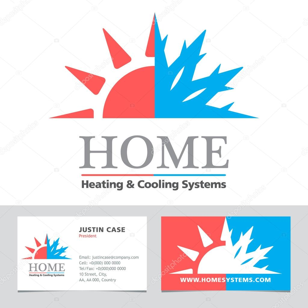 Heating cooling systems business icon business card vector heating cooling systems business icon business card vector template stock vector reheart
