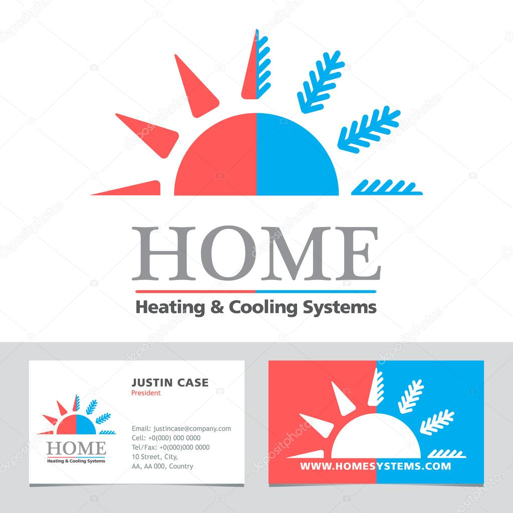 Heating cooling systems business icon business card vector heating cooling systems business icon business card vector template stock vector reheart Images