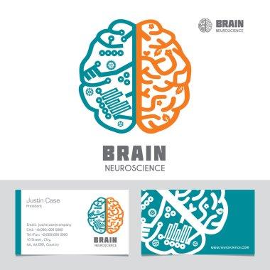 Brain icon design & business card template for Neuroscience & Medicine.