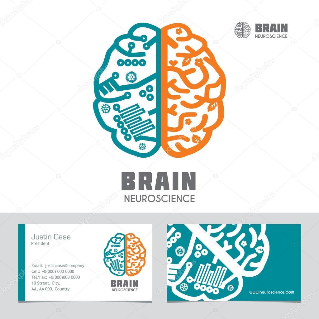 Hemispheres Gauche Droit Cerveau Humain Vector Icon Modele Vecteur De Carte Visite Signe Design Pour Les Neurosciences Medecine