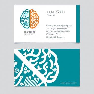 Human Brain vector icon & business card template.