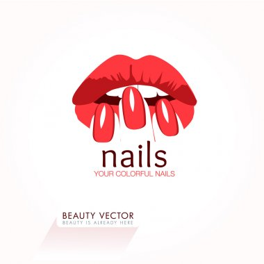 Woman's Red Lips and Nails Beauty Icon