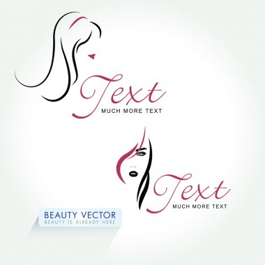 Beautiful Woman Head Business Icon template.