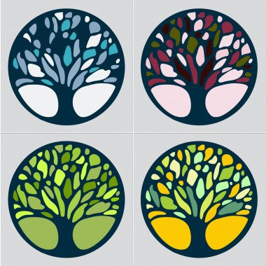 Abstract Tree sign vector template set.