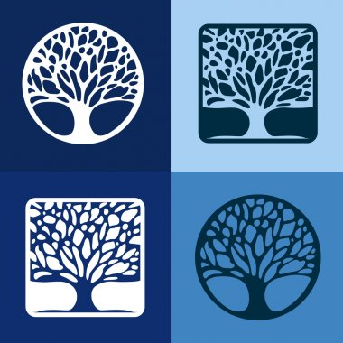 Abstract Tree sign vector template set