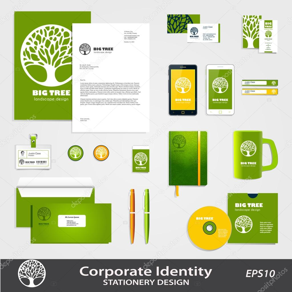 Abstract Tree sign and corporate identity set  vector template.
