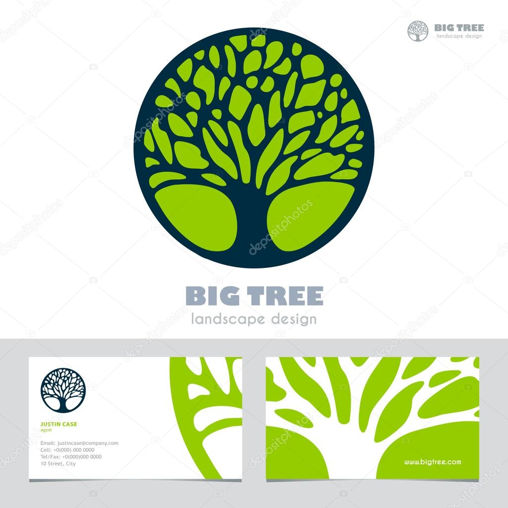 Abstract Tree sign & business card vector template.