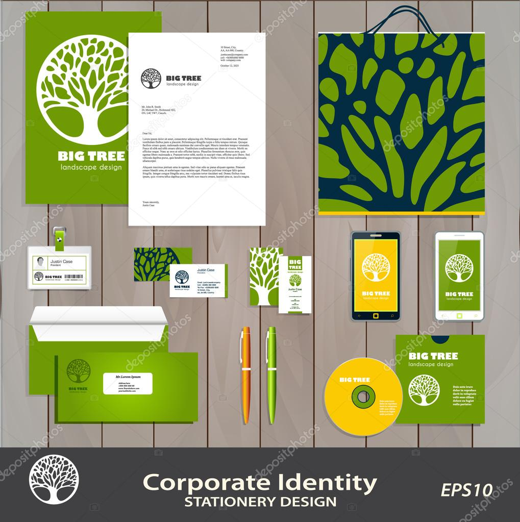Abstract Tree sign corporate identity set  vector template.
