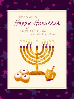 Hanukkah Greeting card design vector template