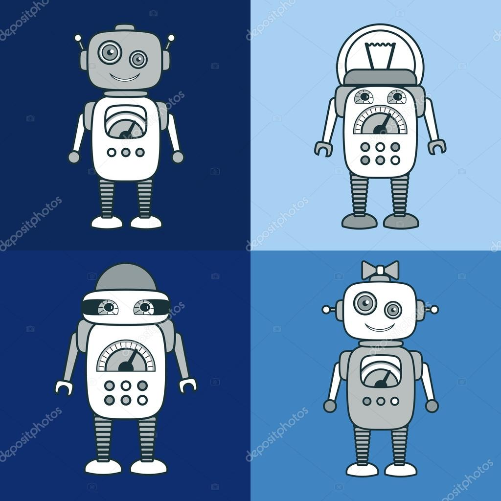 cute robot cartoon character educational flat icon template stock