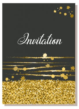 Invitation or Greeting Card design in Gold and Black.