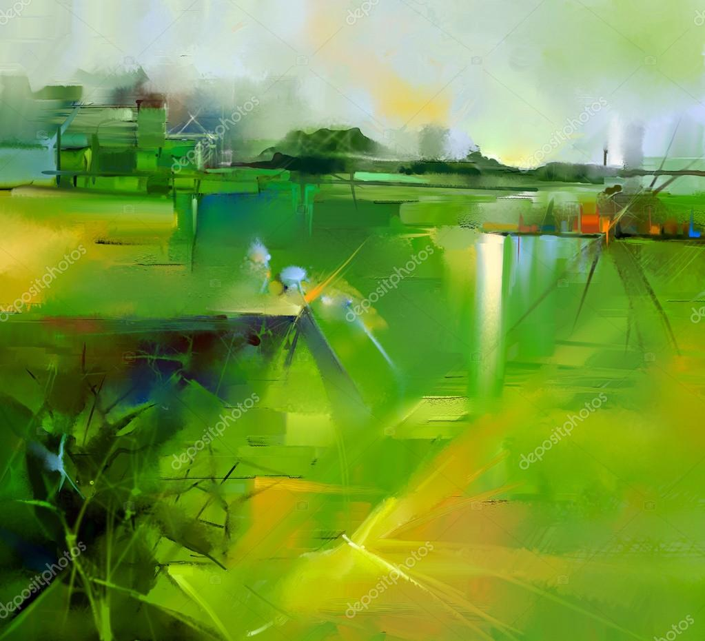 Abstract colorful yellow and green oil painting landscape