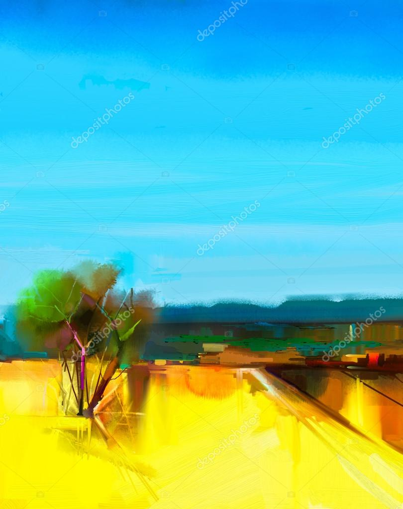 Oil painting Abstract colorful yellow and blue sky landscape