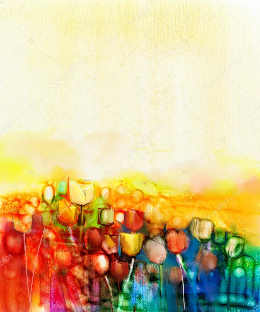Abstract tulip flower field watercolor painting
