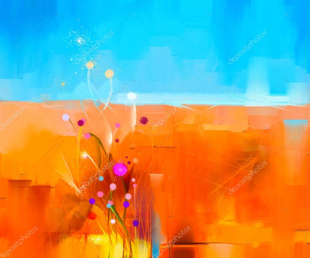 Abstract colorful oil painting landscape on canvas