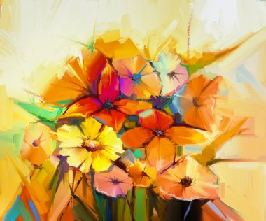 Oil painting Still life of yellow, pink and red gerbera, daisy,