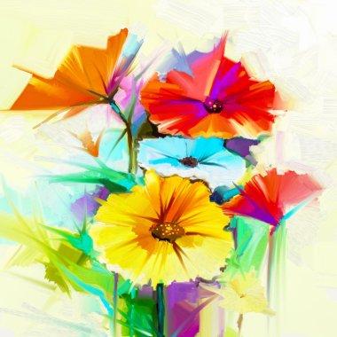 """Картина, постер, плакат, фотообои """"Абстрактные картины маслом цветок весны. Натюрморт желтые, розовые и красные герберы, Дейзи"""", артикул 109932374"""