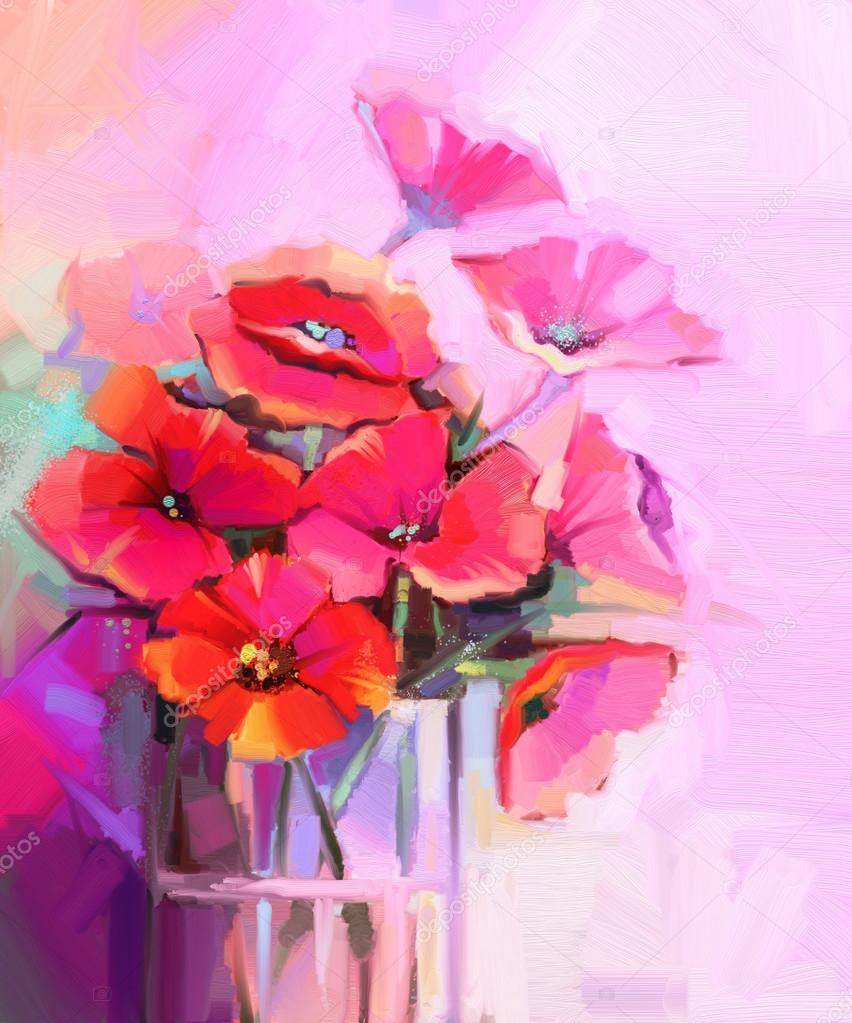 Oil painting bouquet of poppy flowers in glass vase stock photo colorful bouquet of poppy flowers in glass vase red and pink color background hand paint floral impressionist style photo by nongkranch reviewsmspy