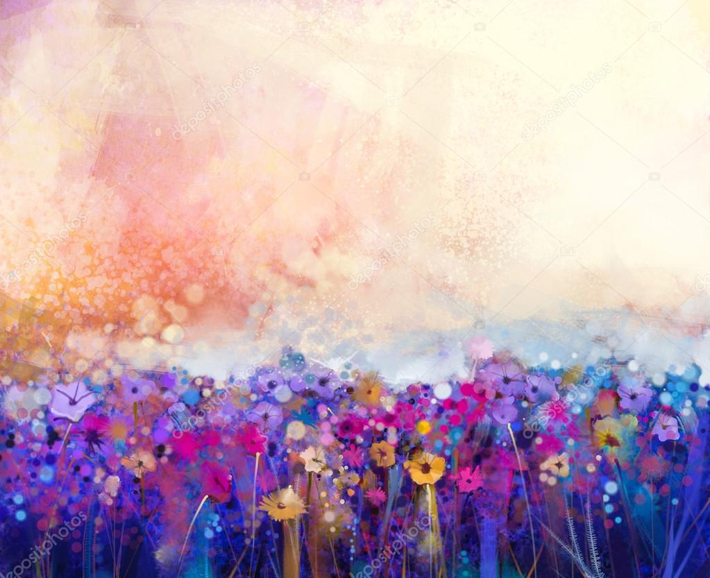 Kwiat Abstrakcja Akwarela Malarstwo Wiosna Kwiat Charakter Sezonowy