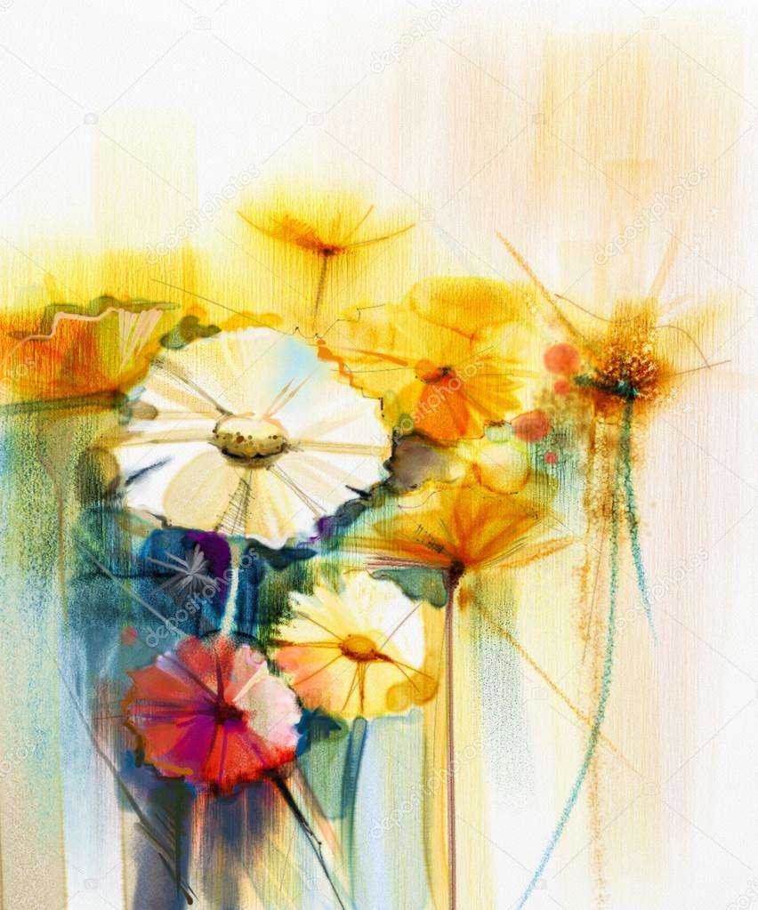 Abstract watercolor painting of spring flower. Still life of yellow, pink and red gerbera, daisy.